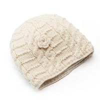 SIJJL Women's Cable-Knit Floral Wool Beanie
