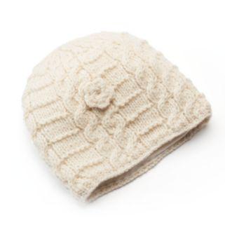 SIJJL Women's Cable-Knit Floral Wool Beanie