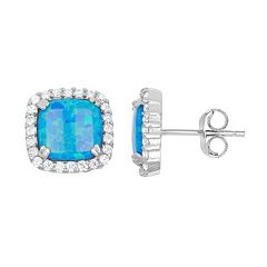 Lab-Created Blue Opal & Cubic Zirconia Sterling Silver Square Halo Stud Earrings