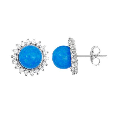 Lab-Created Blue Opal & Cubic Zirconia Sterling Silver Halo Stud Earrings