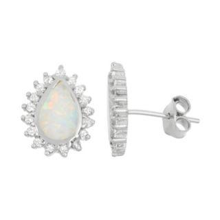 Lab-Created Opal & Cubic Zirconia Sterling Silver Teardrop Halo Stud Earrings
