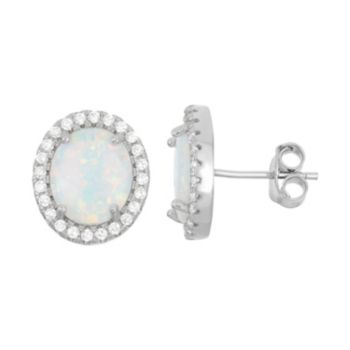 Lab-Created Opal & Cubic Zirconia Sterling Silver Oval Halo Stud Earrings