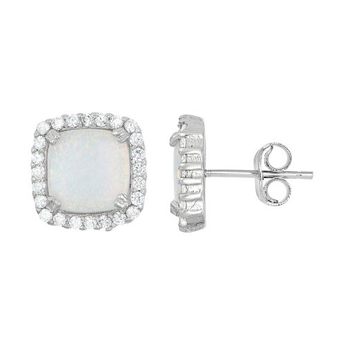 Lab-Created Opal & Cubic Zirconia Sterling Silver Square Halo Stud Earrings