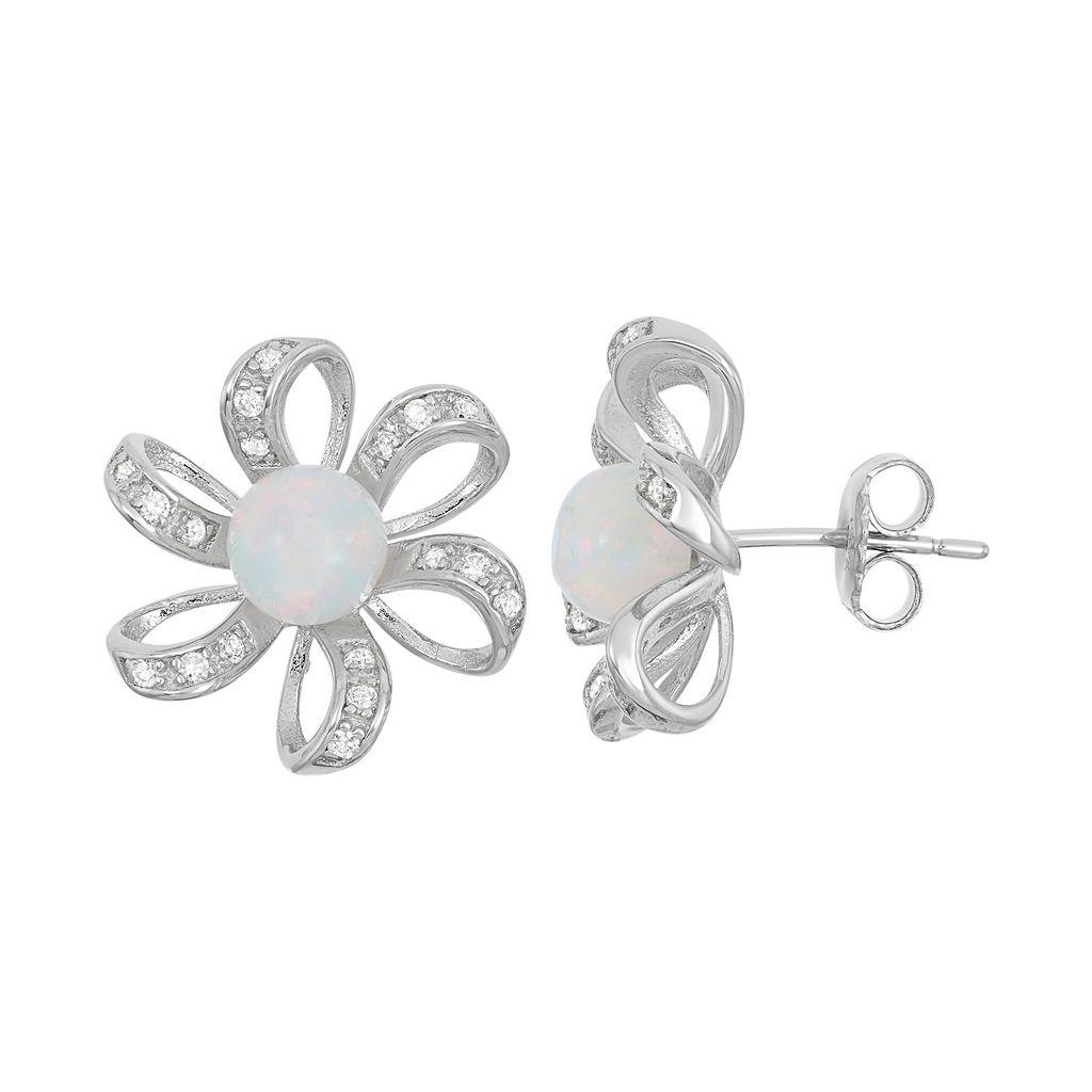 Lab-Created Opal & Cubic Zirconia Sterling Silver Flower Stud Earrings