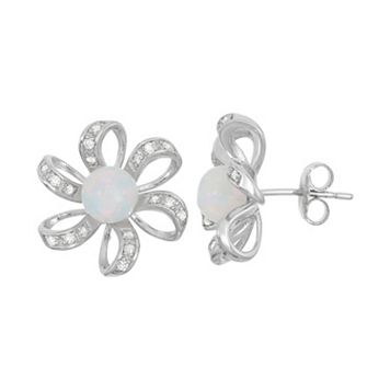 Lab-Created Opal & Cubic Zirconia Sterling Silver Flower Stud Earrings