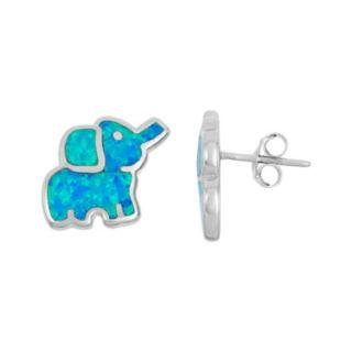 Lab-Created Blue Opal Sterling Silver Elephant Stud Earrings