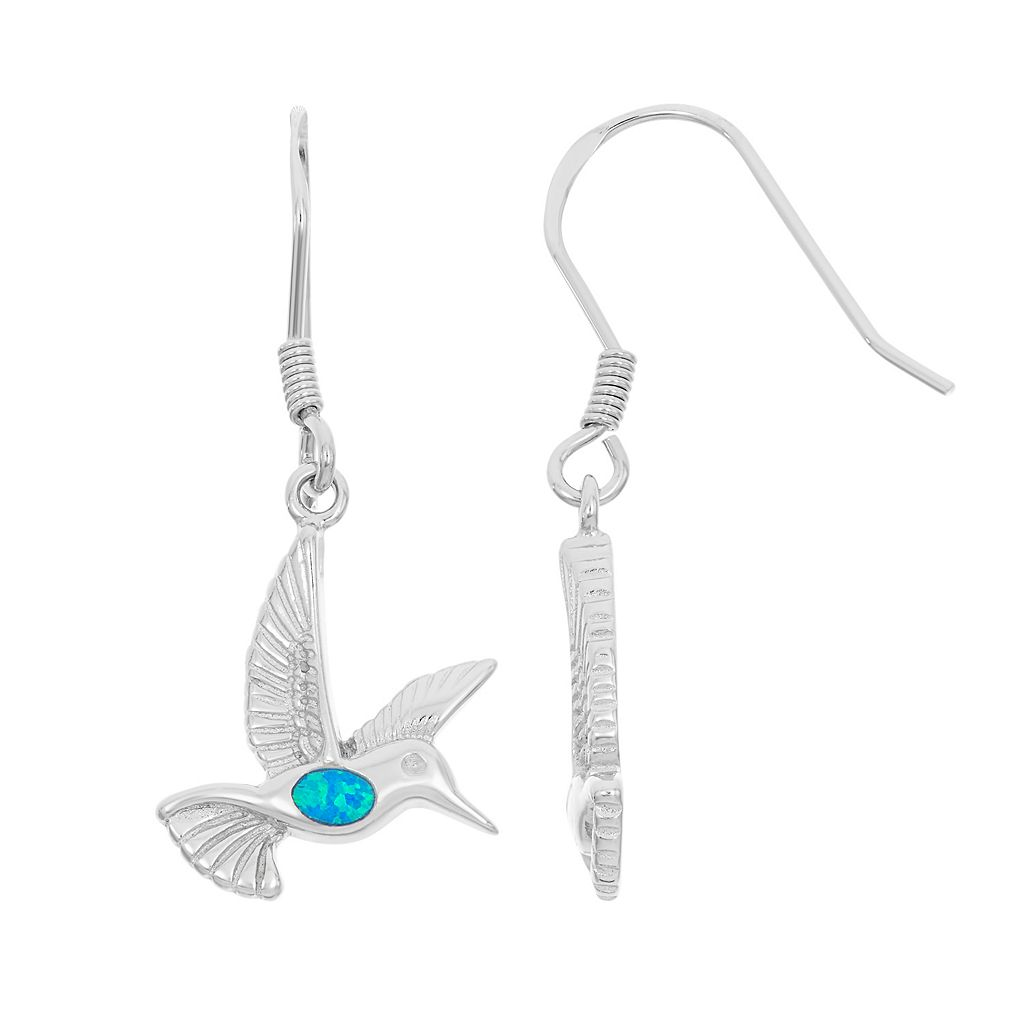 Lab-Created Blue Opal Sterling Silver Hummingbird Drop Earrings