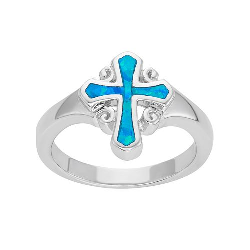 Lab-Created Blue Opal Sterling Silver Cross Ring
