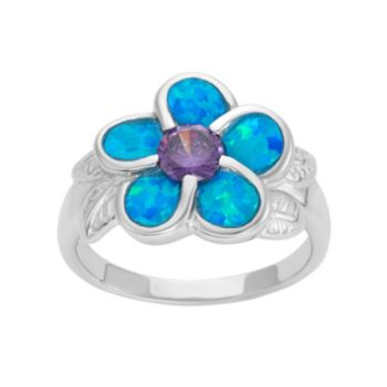 Lab-Created Blue Opal & Cubic Zirconia Sterling Silver Flower Ring