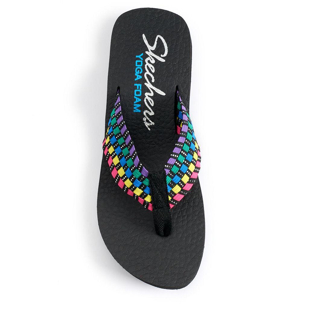 Skechers Vinyasa Women's Woven Yoga Mat Wedge Flip-Flops