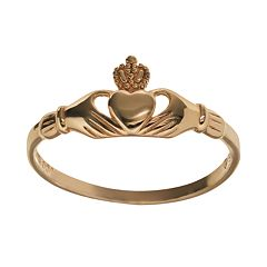 18k Gold Over Silver Claddagh Ring