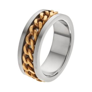 Men's Two Tone Stainless Steel Curb Chain Band