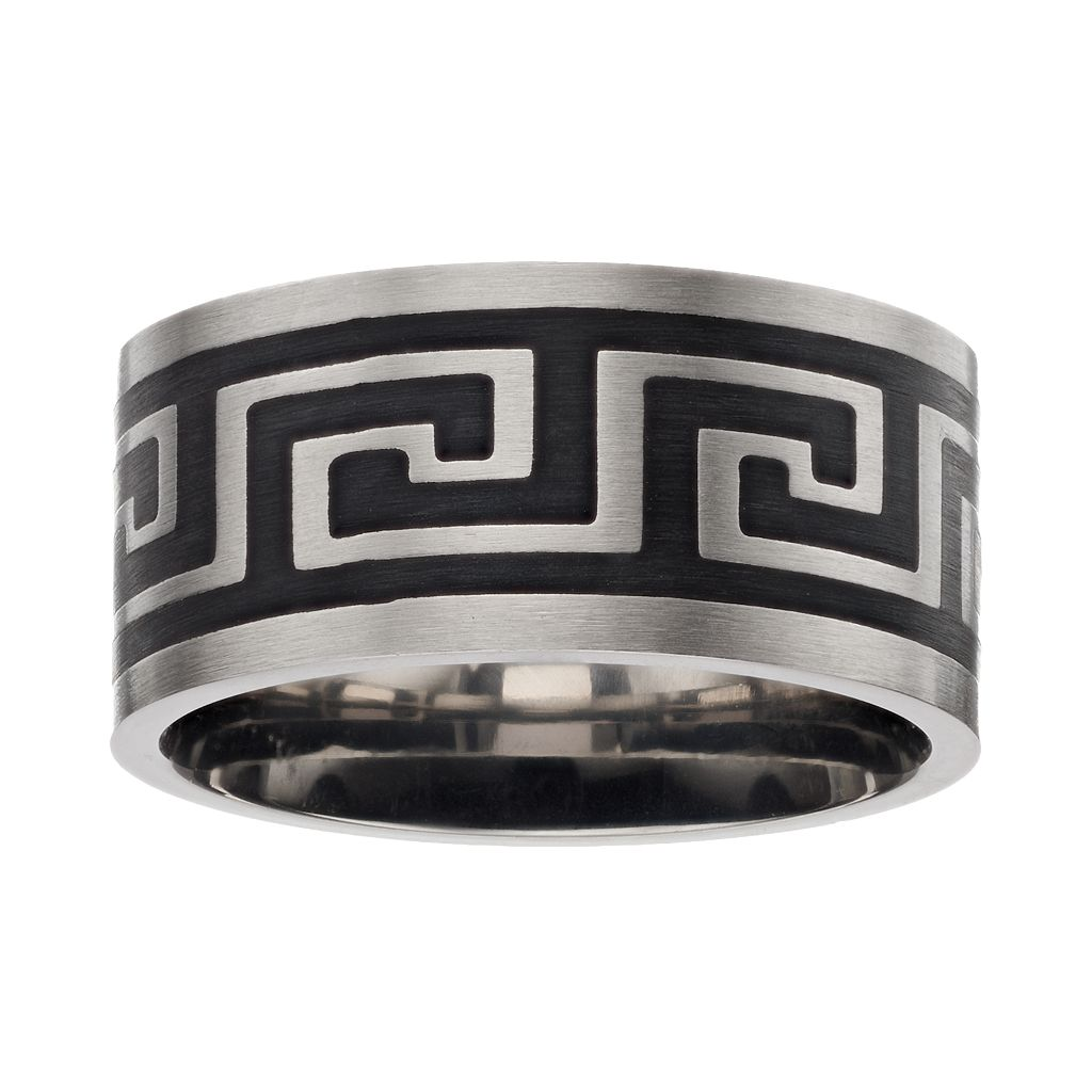 Men's Two Tone Stainless Steel Greek Key Band
