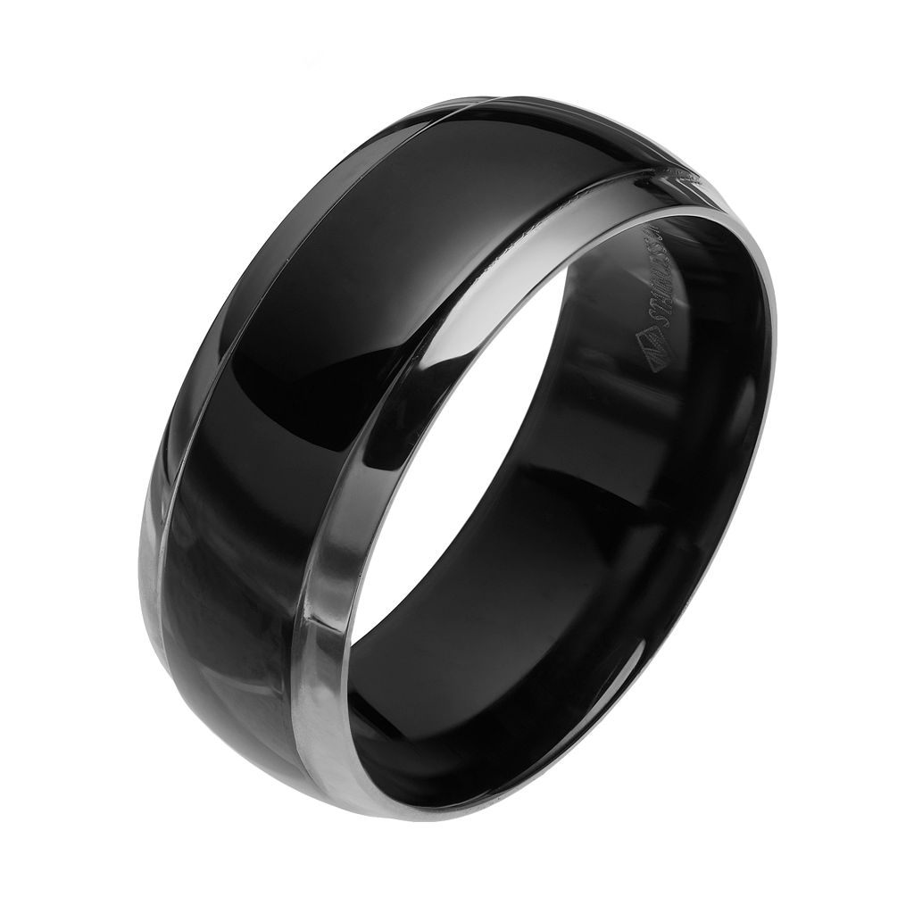 Two Tone Stainless Steel Men's Wedding Band
