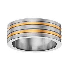 Men's Two Tone Stainless Steel Striped Band