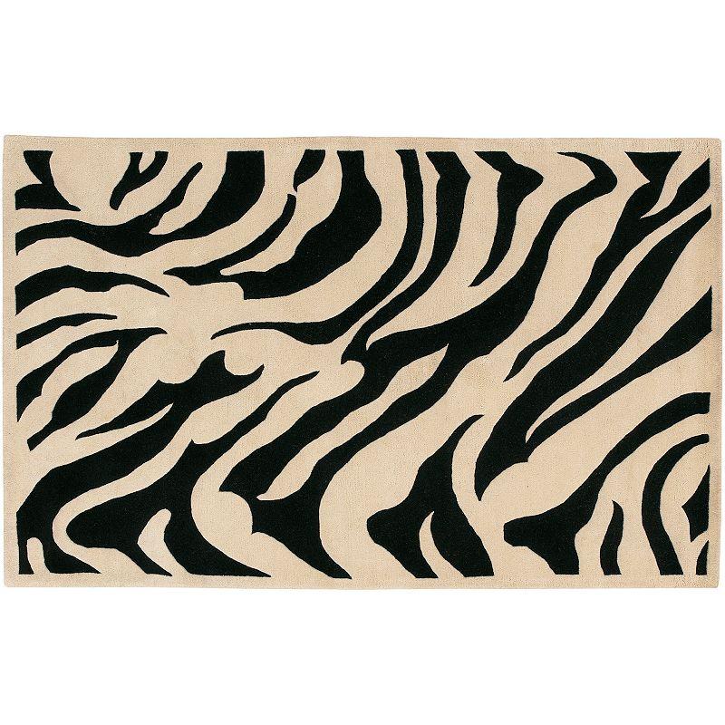 Decor 140 Goa Zebra Wool Rug, Black, 5X8 Ft