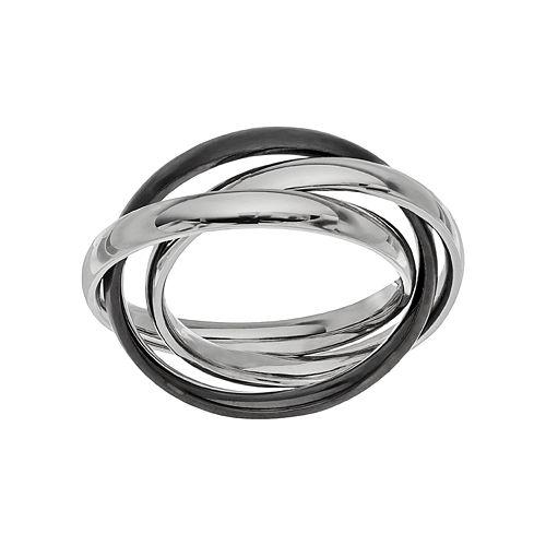 Two Tone Stainless Steel Triple Interlocking Ring