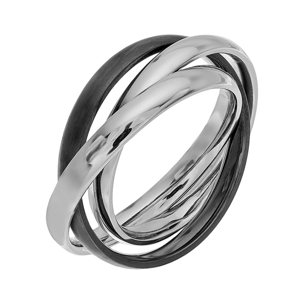 Two Tone Stainless Steel Triple Interlocking Ring