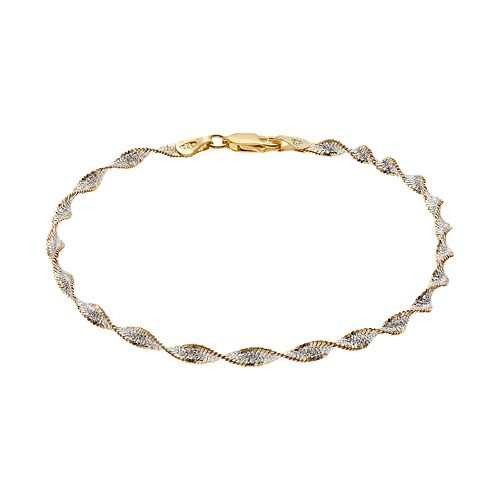 PRIMROSE Two Tone Sterling Silver Butterfly Twist Chain Bracelet