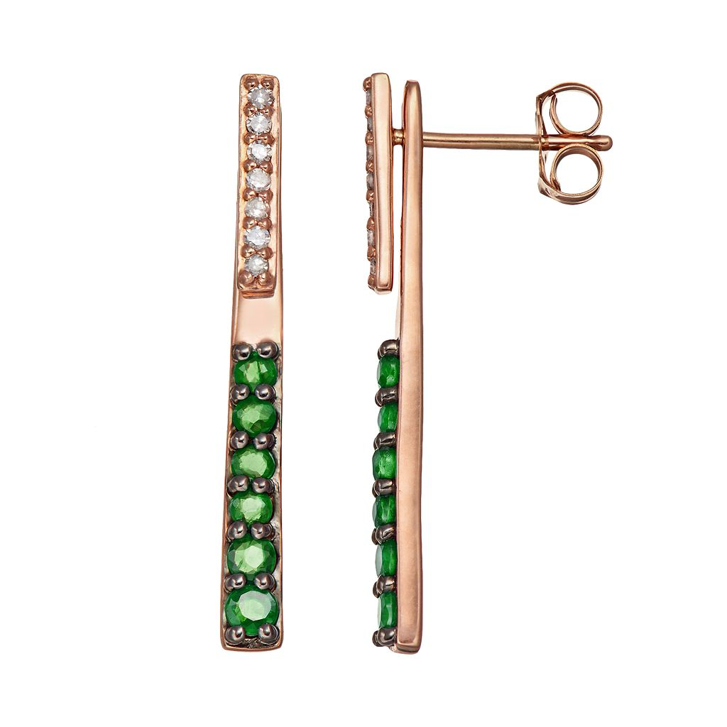 Emerald & Diamond Accent 10k Gold Stick Front-Back Drop Earrings