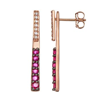 Ruby & Diamond Accent 10k Rose Gold Stick Front-Back Drop Earrings