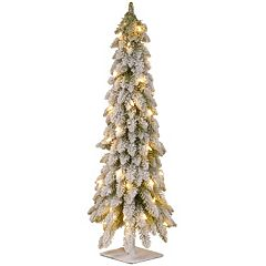 3-ft. Pre-Lit Snowy Downswept Artificial Christmas Tree