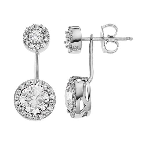 96094b95b Emotions Sterling Silver Halo Front-Back Drop Earrings - Made with ...