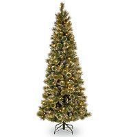 7.5-ft. Pre-Lit Glittery Pinecone Bristle Slim Pine Artificial Christmas Tree