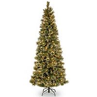 7.5-ft. Pre-Lit LED Glittery Bristle Pine Slim Artificial Christmas Tree