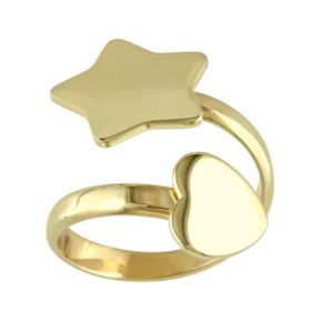 Sterling Silver Star & Heart Bypass Ring