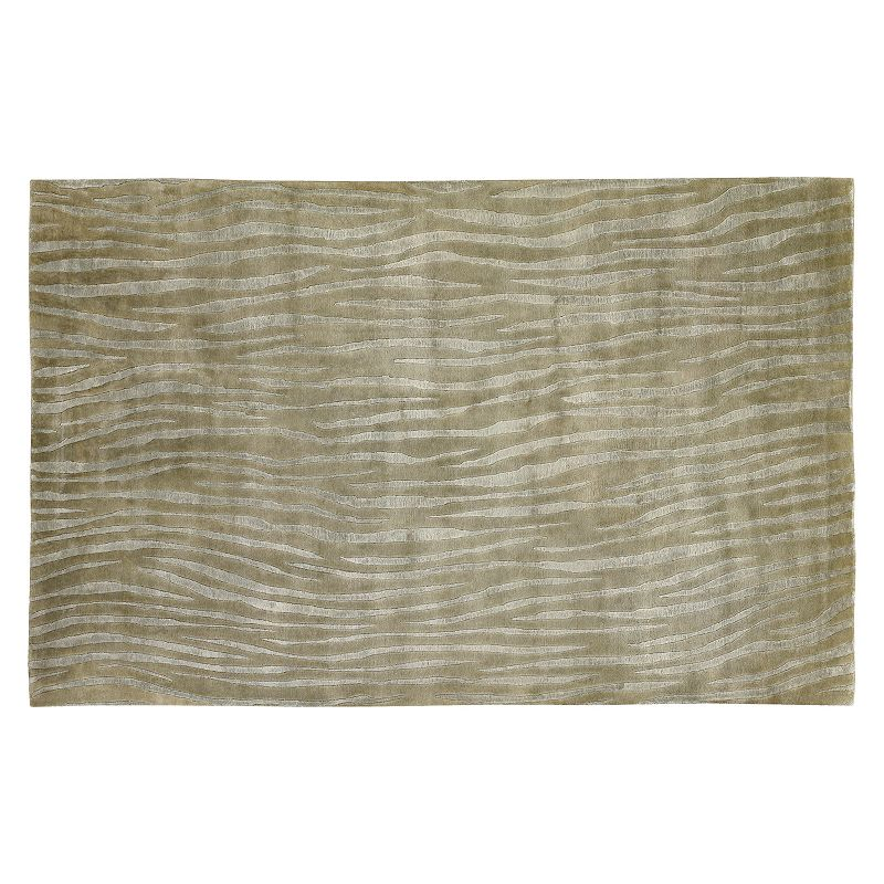 Decor 140 Luminous Striped Wool Rug, Brown, 5X8 Ft