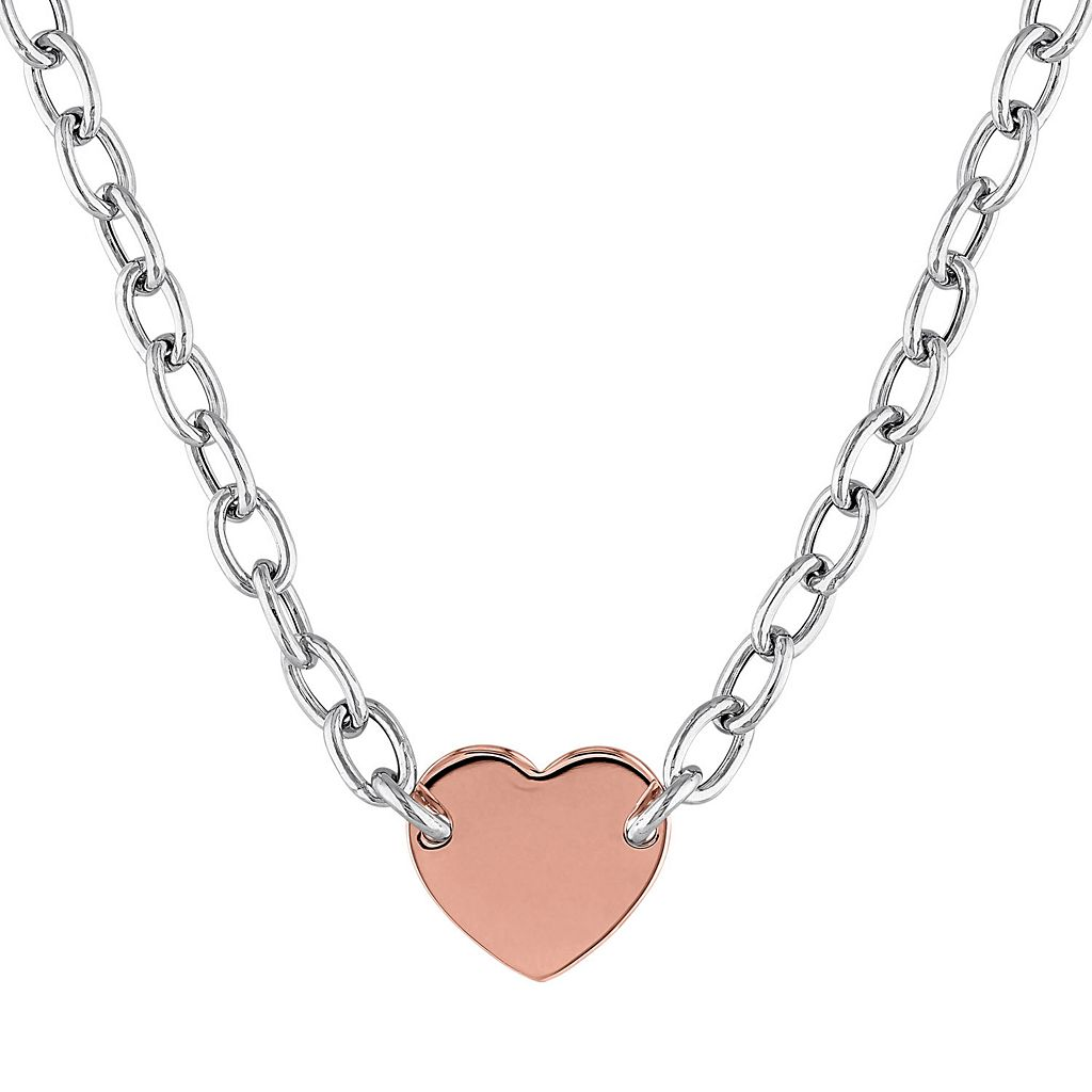 Two Tone Sterling Silver Heart Necklace