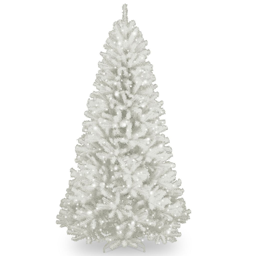 7-ft. Pre-Lit Glitter North Valley White Spruce Artificial Christmas Tree