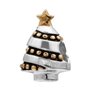 Individuality Beads Two Tone Sterling Silver Christmas Tree Bead
