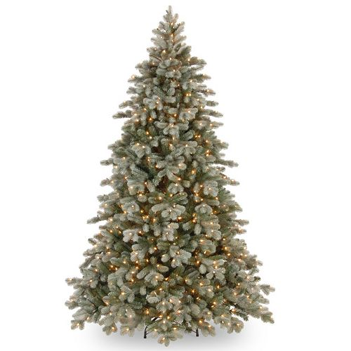 pre lit frosted colorado spruce artificial christmas tree