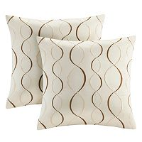 Madison Park Marcel Ogee Embroidered Taffeta 2 pc Throw Pillow Set