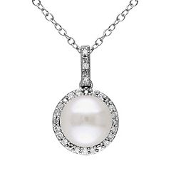 Freshwater Cultured Pearl & 1/10 Carat T.W. Diamond Sterling Silver Halo Pendant Necklace