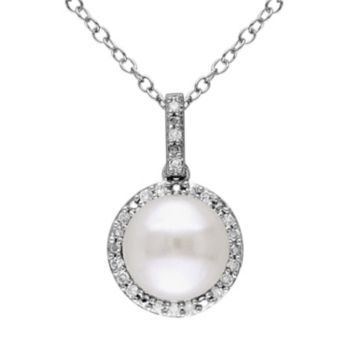 Stella Grace Freshwater Cultured Pearl & 1/10 Carat T.W. Diamond Sterling Silver Halo Pendant Necklace