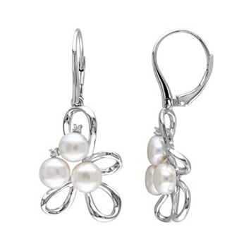 Freshwater Cultured Pearl & Diamond Accent Sterling Silver Drop Earrings
