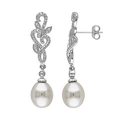 Stella Grace Freshwater Cultured Pearl & 1/10 Carat T.W. Diamond Sterling Silver Drop Earrings