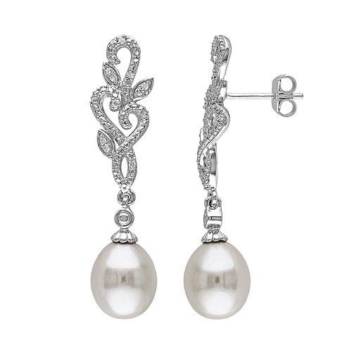 Stella Grace Freshwater Cultured Pearl & 1/10 Carat T.W. Diamond Sterling Silver Drop Earrings