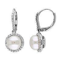 Freshwater Cultured Pearl & 1/5 Carat T.W. Diamond Sterling Silver Drop Earrings