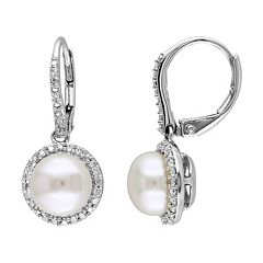 Stella Grace Freshwater Cultured Pearl & 1/5 Carat T.W. Diamond Sterling Silver Drop Earrings