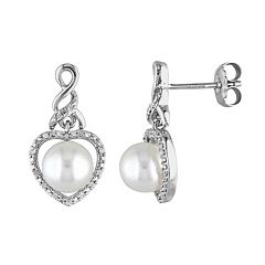 Stella Grace Freshwater Cultured Pearl & 1/10 Carat T.W. Diamond Sterling Silver Heart Drop Earrings