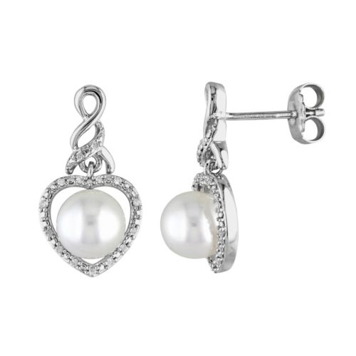 Freshwater Cultured Pearl & 1/10 Carat T.W. Diamond Sterling Silver Heart Drop Earrings