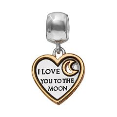 Individuality Beads Two Tone Sterling Silver 'I Love You to the Moon and Back' Heart Charm