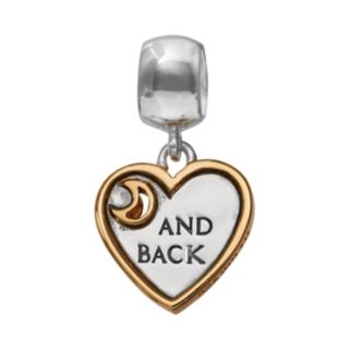 """Individuality Beads Two Tone Sterling Silver """"I Love You to the Moon and Back"""" Heart Charm"""