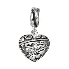 Individuality Beads Sterling Silver 'Sis' Heart Charm