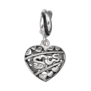 "Individuality Beads Sterling Silver ""Sis"" Heart Charm"