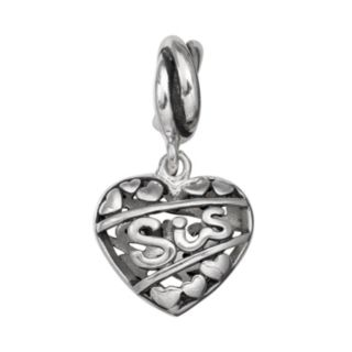 """Individuality Beads Sterling Silver """"Sis"""" Heart Charm"""